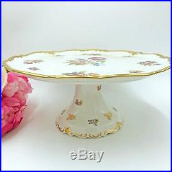 Vintage Reichenbach German Porcelain China Pedestal Cake Stand & Pastry Tray