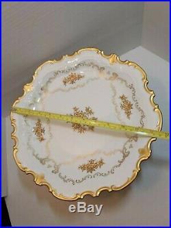 Vintage Reichenbach German Porcelain Gold Floral Pedestal Cake Stand Plate 1684B