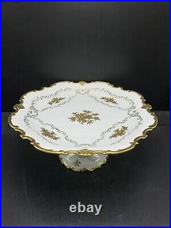 Vintage Reichenbach Germany Pedestal Cake Plate Stand Gold Flowers & Trim