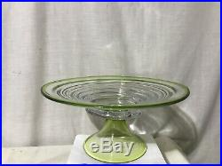 Vintage Ribbed Tiered Green & Clear Glass Pedestal Cake Stand Plate 13 1/2
