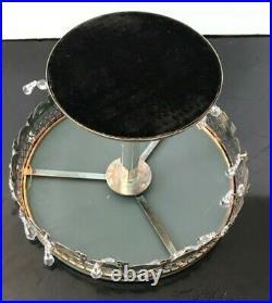 Vintage Round Silver Plate Pedestal Cake Stand Lattice Open Mirror Top Crystals