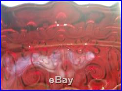 Vintage Ruby Red Glass Pedestal Domed Covered Cake Plate Stand 15 AMAZING