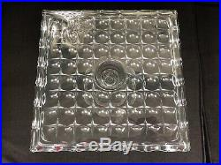 Vintage STAR GLASS Thumbprint Block Pedestal Square Cake Plate Stand RUM WELL
