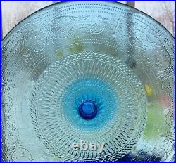 Vintage Sea Blue Cake Stand STUNNING! GIGANTIC! 12-1/2RARE! MINT! SPECTACULAR