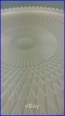 Vintage Shell PINK Jeanette Glass CAKE PLATE Pedestal COTTAGE Shabby Decor 10
