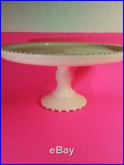 Vintage Shell Pink Jeanette Milk Glass Cake Plate Pedestal Shabby Decor 10