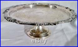 Vintage Signed SHERIDAN SILVER PLATE PEDESTAL CAKE PLATE Stand Server FLORAL