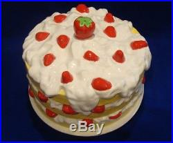 Vintage Strawberry Shortcake Ceramic Cake Plate Dome Cover Pedestal Stand