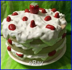 Vintage Strawberry Shortcake Ceramic Cake Plate Dome Cover Pedestal Stand