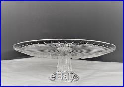 Vintage Val St Lambert Balmoral Vertical Cuts Crystal Pedestal Cake Platesigned