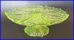 Vintage Vaseline Glass Footed Pedestal Cake Plate Stand 9 Diameter