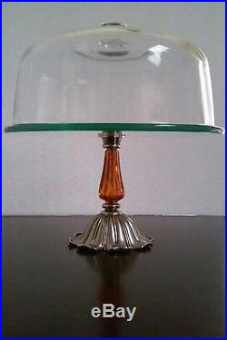Vintage Victorian Glass Dome Cover Cake Stand Plate Stainless Amber Pedestal