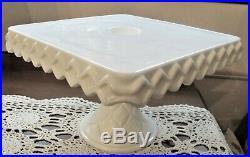Vintage White Milk Glass Square Pedestal Cake Plate Stand Diamond Edge Wedding