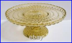 Vintage Yellow Glass Pedestal Cake Stand Plate Wow