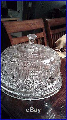 Vintage crystal cake plate leaf design pedestal 12 wide x 4 tall, antique