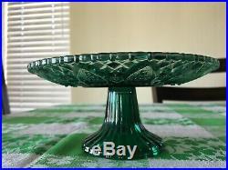 Vintage glass pedestal mini Bundt cake platter tray plate footed green