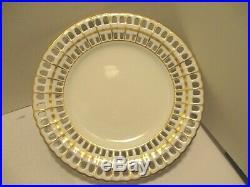 Vista Alegre Cake Dessert Stand Reticulated Plate Pedestal Footed Gold White VA