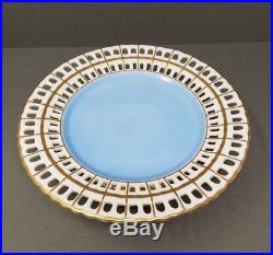 Vista Alegre Cake Plate Reticulated Pedestal Gold Blue Dessert Stand Footed Vtg