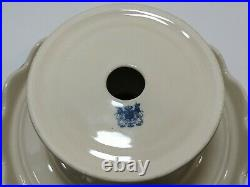 Vtg 10 Round Pedestal Cake Plate Stand withServer Aqua Blue Brwn Pastoral Scallop