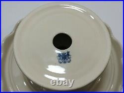 Vtg 10 Round Pedestal Cake Plate Stand withServer Aqua Blue Brwn Pastoral Scallop