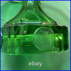 Vtg 1940-50s Federal Coin GREEN GLASS Pedestal Cake Display Stand Plate