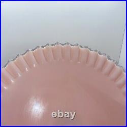 Vtg 1950's Fenton Pink Milk Glass Rose Silver Crest Pedestal Cake Plate Stand