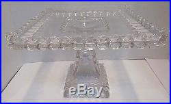 Vtg Adams Glass Square Scalloped Apron Cake Plate Pedestal Stand Rum Well 9.25
