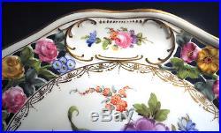 Vtg Antique Dresden Carl Thieme Cake Plate Pedestal Comport Stand Reticulated