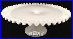 Vtg Cake Plate Stand Fluted Fenton White Milk Glass Hobnail Pedestal Base 12.5