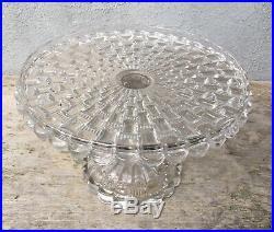 Vtg Cut Log Cat Eye Ethol Pedestal Cake Plate Stand Antique Glass EAPG Higbee