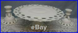 Vtg Doric Open Lace Milk Glass Pedestal Cake Stand Plate & Candle Holder's