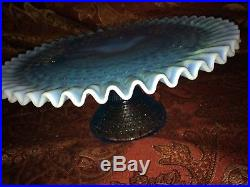 Vtg. Fenton Aqua Blue Footed Opalescent Crest Ruffled Pedestal Cake Stand Plate
