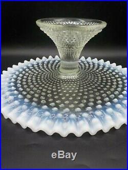 Vtg Fenton Moonstone White Opalescent Cake Stand Pedestal Plate Hobnail Ruffle