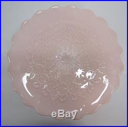Vtg Fenton Pink Milk Glass Scallop Edge Pedestal Cake Stand Plate Spanish Lace