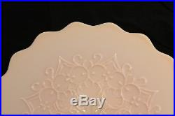 Vtg Fenton Spanish Lace Pink Opalescent Art Glass Pedestal 13 Cake Stand Plate