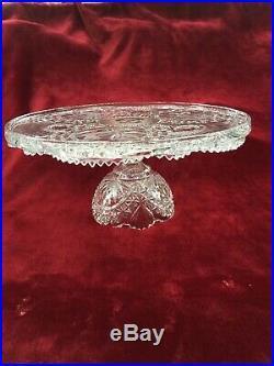Vtg German Hofbauer Crystal Byrdes Pedestal Cake Stand Plate 12/dip Dish Stand
