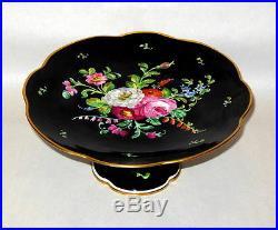 Vtg Hand Ptd Limoges Floral 9 1/2 Cake Pedestal Plate Tazza Rare Black Color