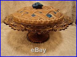 Vtg Imperial Glass Fashion Amber Pedestal Cake Plate Stand antique footed marked