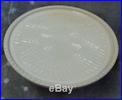 Vtg JEANNETTE Milk GLASS Footed Harp Pedestal CAKE PLATE SHELL PINK