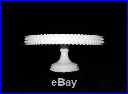 Vtg L. E. SMITH Milk Glass HOBNAIL Pedestal CAKE STAND Plate Server1960s RARE