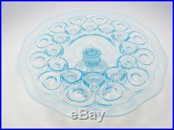 Vtg L. E. Smith Blue Opalescent Glass Moon & Stars Pedestal Cake Plate, 10 1/2