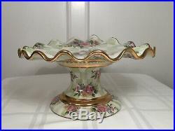 Vtg MACKENZIE-CHILDS Green Honeymoon Check Sweet Pea Cake Stand Pedestal Plate