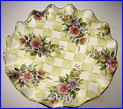Vtg MACKENZIE-CHILDS Green Honeymoon Check Sweet Pea Pedestal Cake Stand Plate