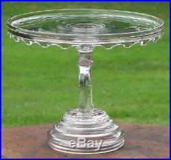 Vtg Rare Horseshoe Stem Cake Stand Eapg O'hara Glass Plate Pedestal Equestrian