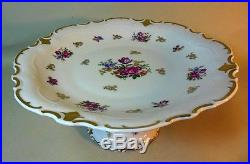 Vtg Reichenbach Germany Cake Dessert Plate Pedestal Stand Flowers Gilt Gold