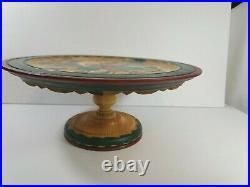 Vtg Rosemaling Hand Painted Wooden Pedestal Cake Stand Folk Art 13 H. Haheim