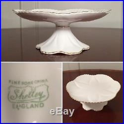 Vtg SHELLEY White Regency Dainty Footed Cake Plate Pedestal Platter with Gold Trim