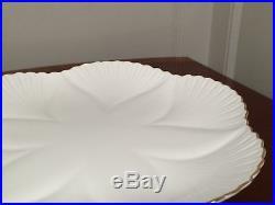 Vtg SHELLEY White Regency Dainty Footed Cake Plate Pedestal Platter with Gold Trim