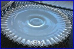 Vtg Signed FENTON SILVERCREST CRIMPED MILKGLASS 12¼ Round Pedestal Cake Plate