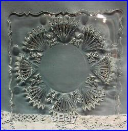 Vtg Square Heavy Clear Cut Glass Cake Pedestal Plate with 8 Matching Plates